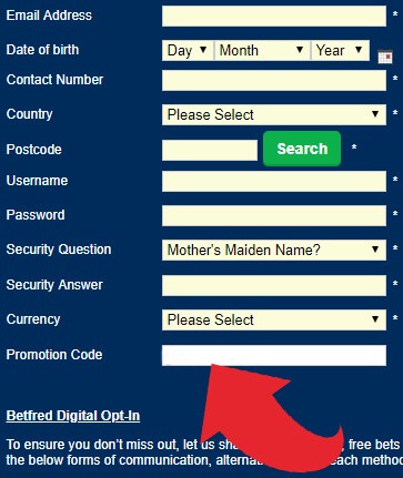 Promotion Code Box for Betfred