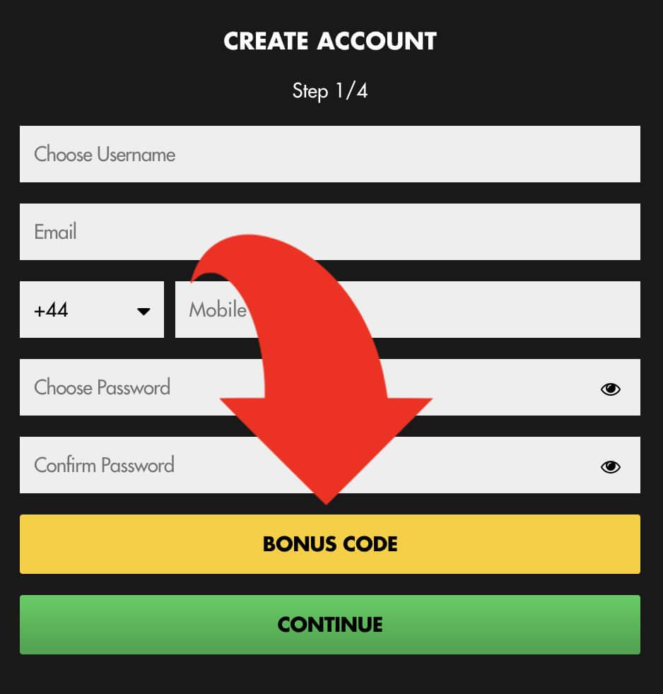 BetHard bonus code box