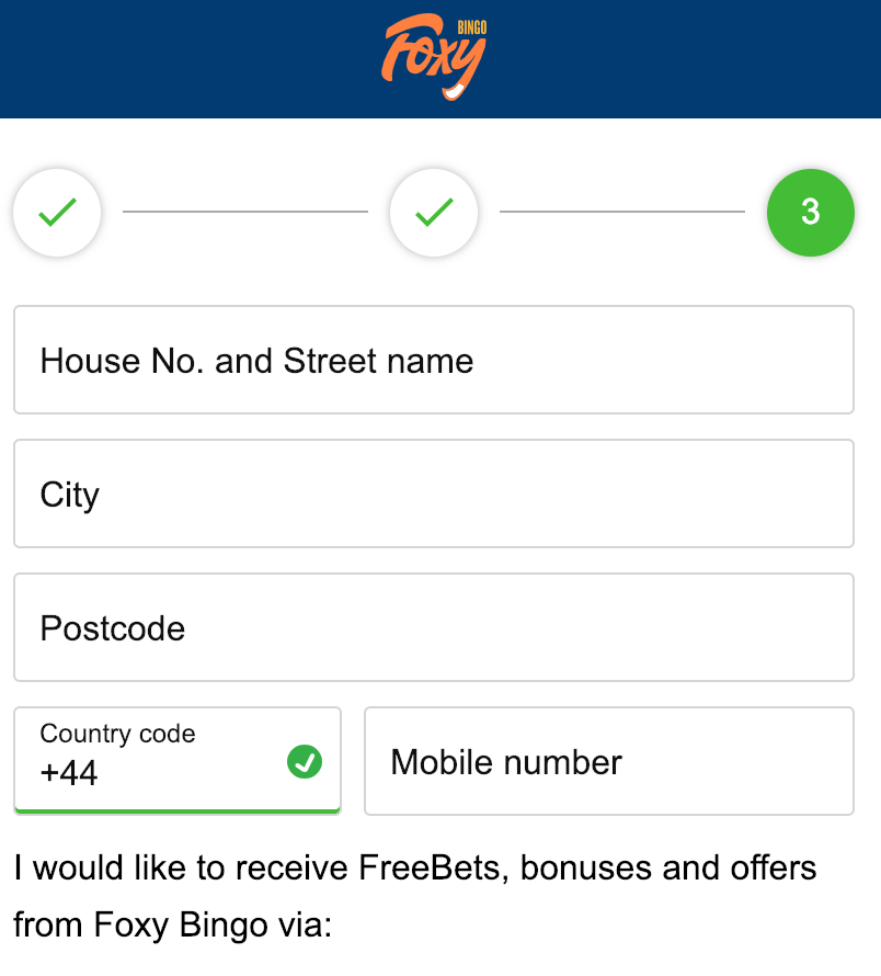 Foxy Bingo Registration Form