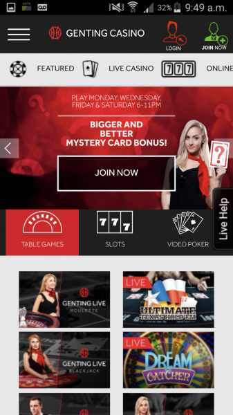 Genting Casino App Screenshot