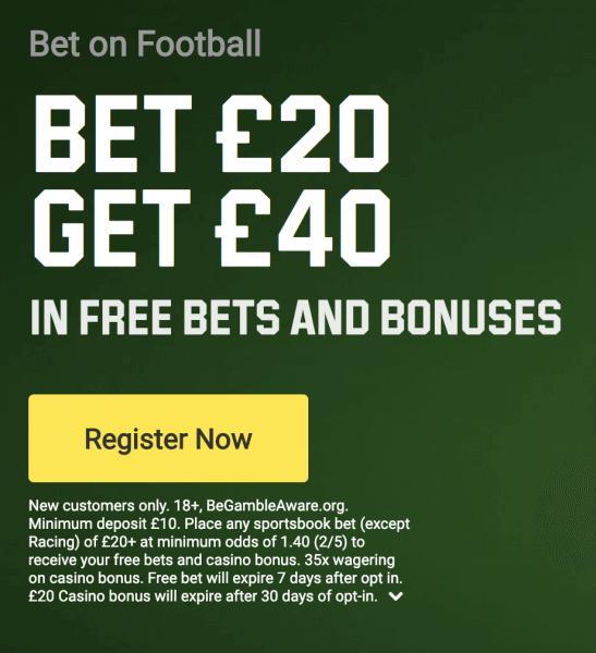 Unibet Bet £20, Get £40 Promo