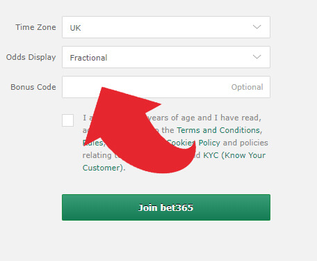 Where to put the bonus code for bet365